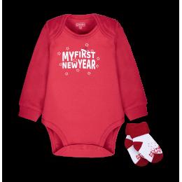 Боди+носки Новый Год (красный)