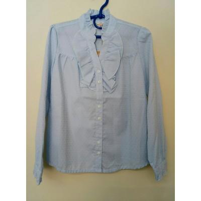 Блуза Голубая Жабо