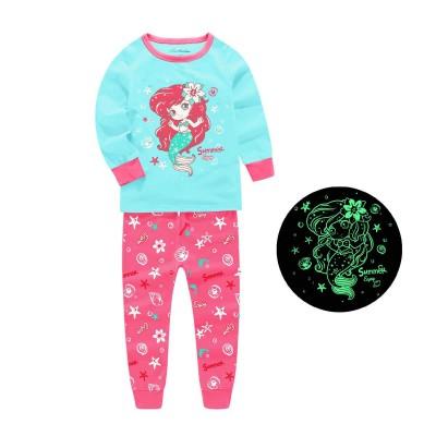 Купить Пижама для девочки Ариель Бирюзовая с малиновым от Бренда Barbeliya