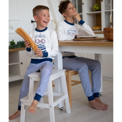Пижама Волна Молочный с синим