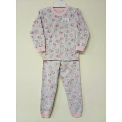 Пижама Тёплая Розовая с серым