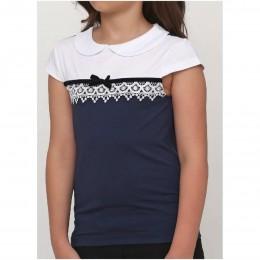 Блуза короткий рукав БАНТИК синяя