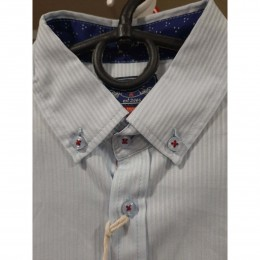 Рубашка Casual Нежно-голубая полоска