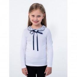 Блуза длинный рукав Бантик Белая