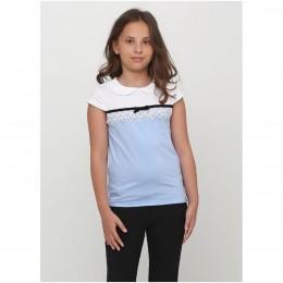 Блуза короткий рукав БАНТИК голубая